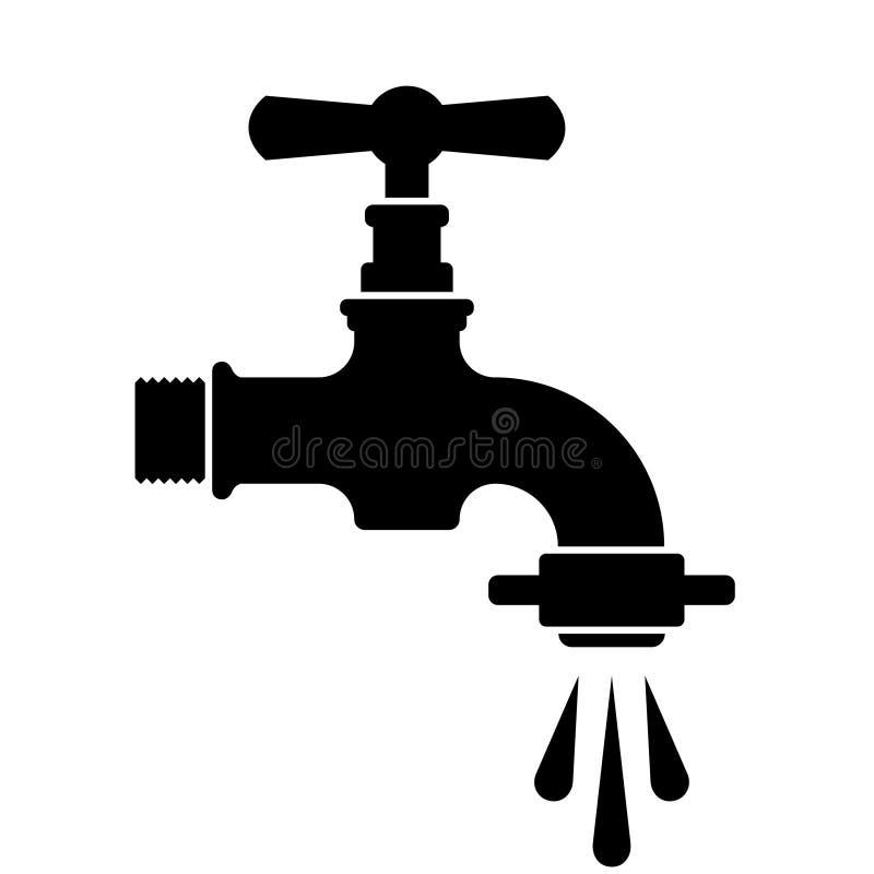 Retro simbolo nero del rubinetto del rubinetto di acqua illustrazione di stock