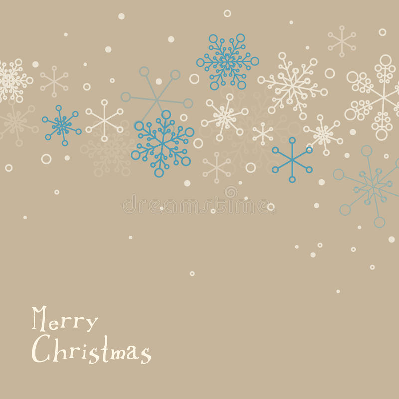 Retro simple Christmas card with snowflakes stock illustration