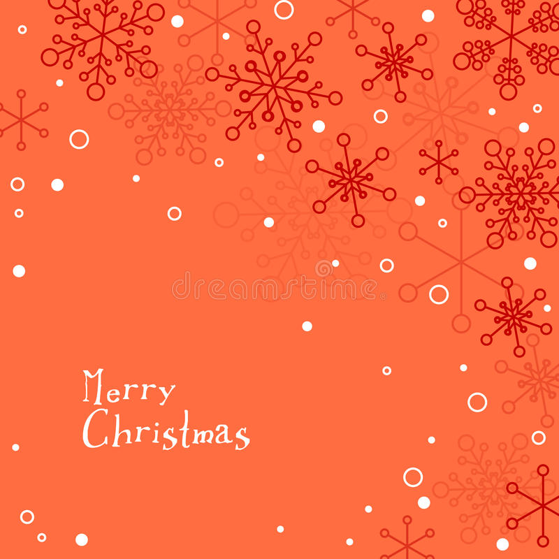 Retro Simple Christmas Card With White Snowflakes Stock Vector