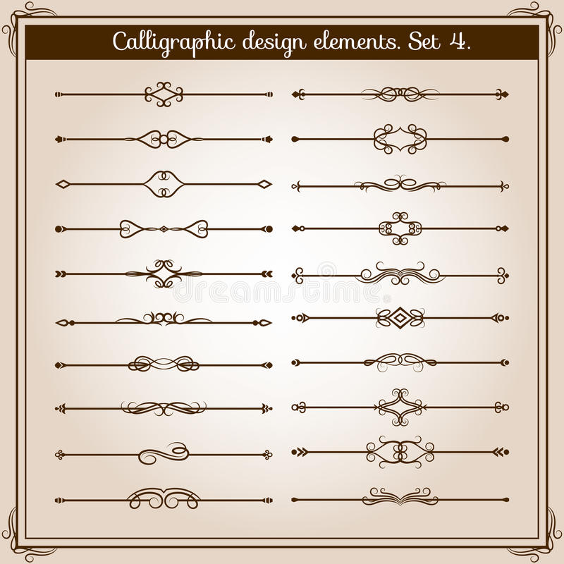 Free Retro Simple Scroll Page Dividers. Vector Vintage Separating Elements Royalty Free Stock Images - 86981049