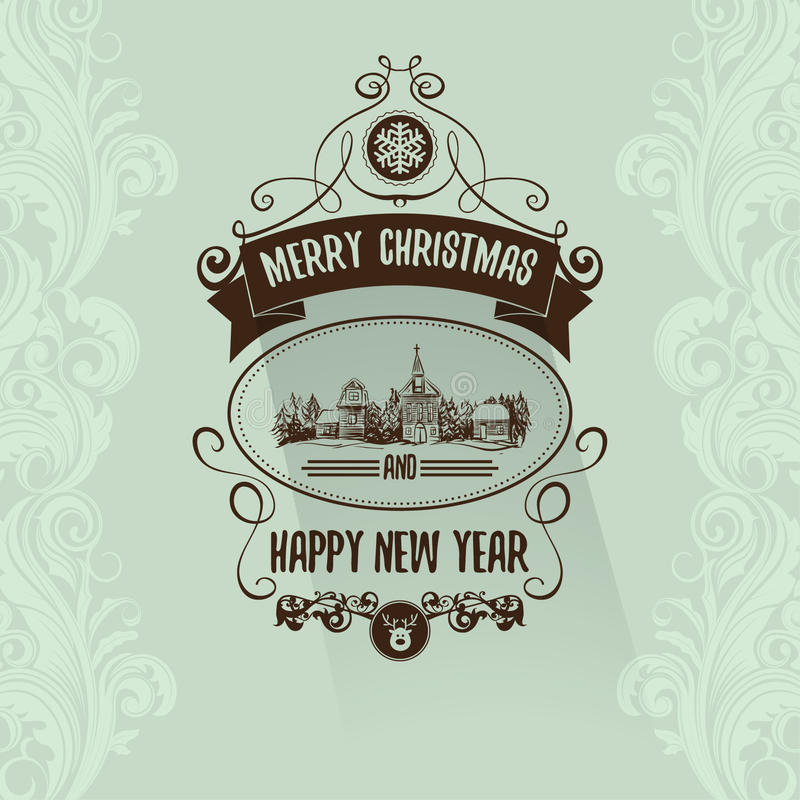 Easy Year To Travel On Christmas: Retro Simple Vintage Merry Christmas Greeting Card With