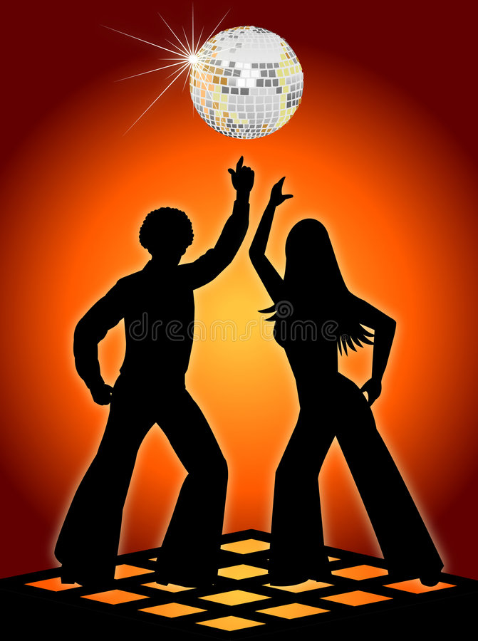 Retro Sinaasappel van de Dansers van de Disco stock illustratie