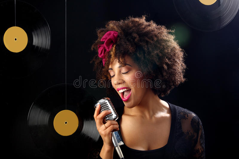 Retro singer stock photo