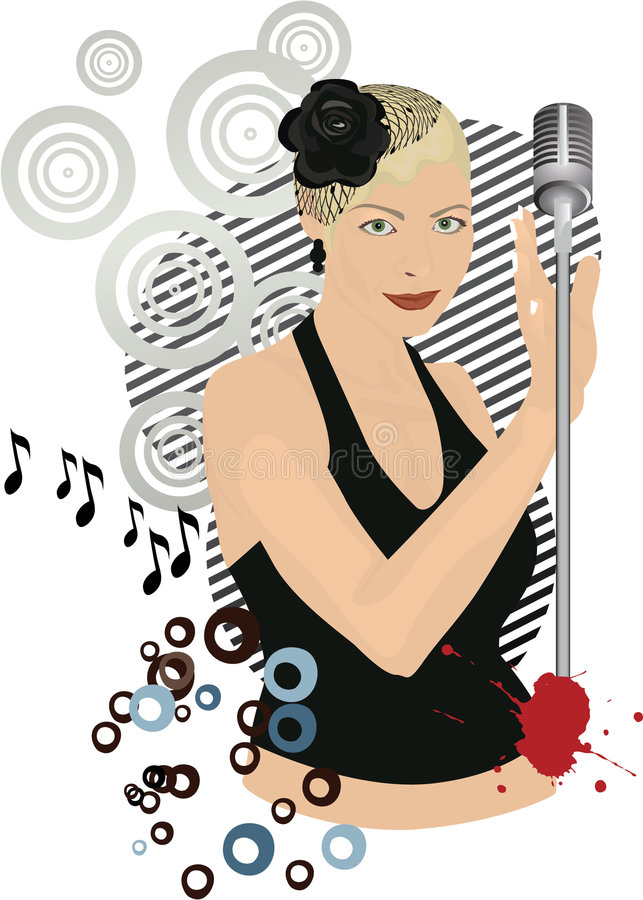 Retro singing girl. Club sound party .Singing Girl with a microphone in club, vector illustration stock illustration