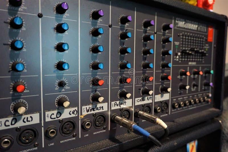 Retro sistema acustico elettronico fotografia stock