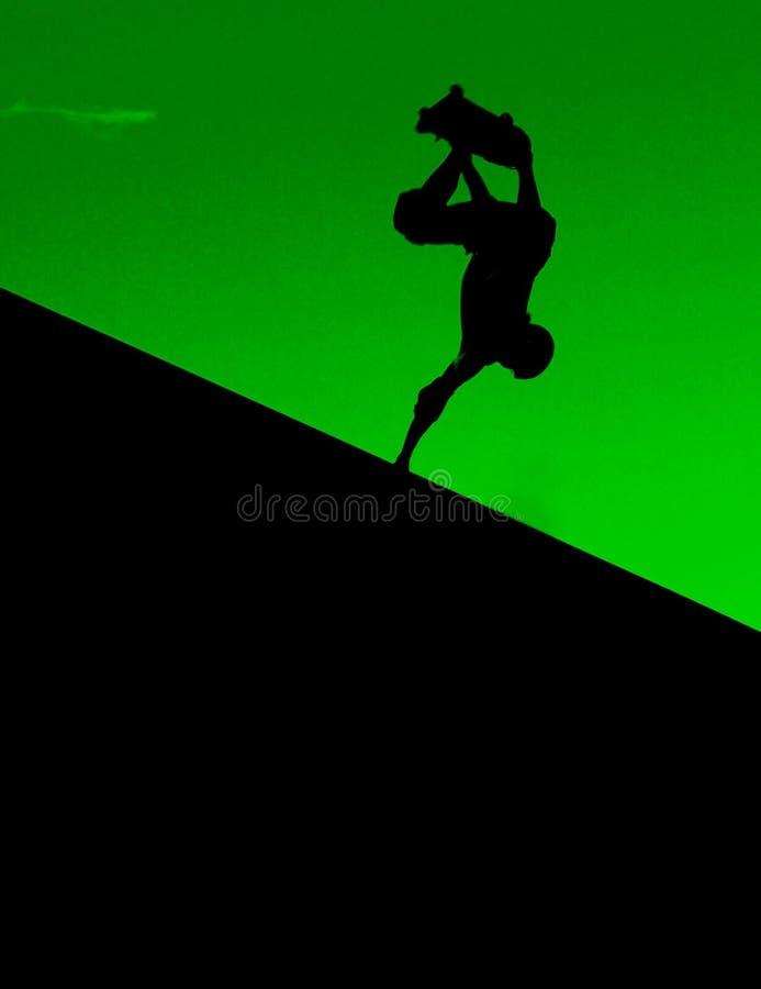Retro skateboarding verde della rampa in Virginia Beach immagine stock libera da diritti