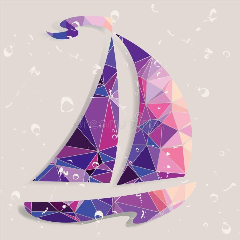 Retro skeppbakgrund som göras av trianglar stock illustrationer