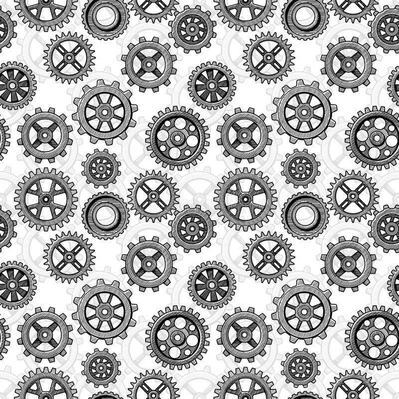 Retro sketch mechanical gears seamless pattern design vector illustration