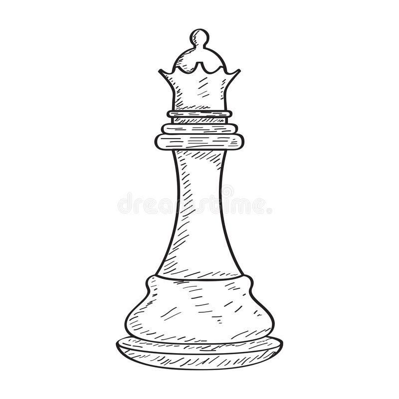 Free Retro Sketch Of A Queen Chess Piece Royalty Free Stock Photo - 124645955