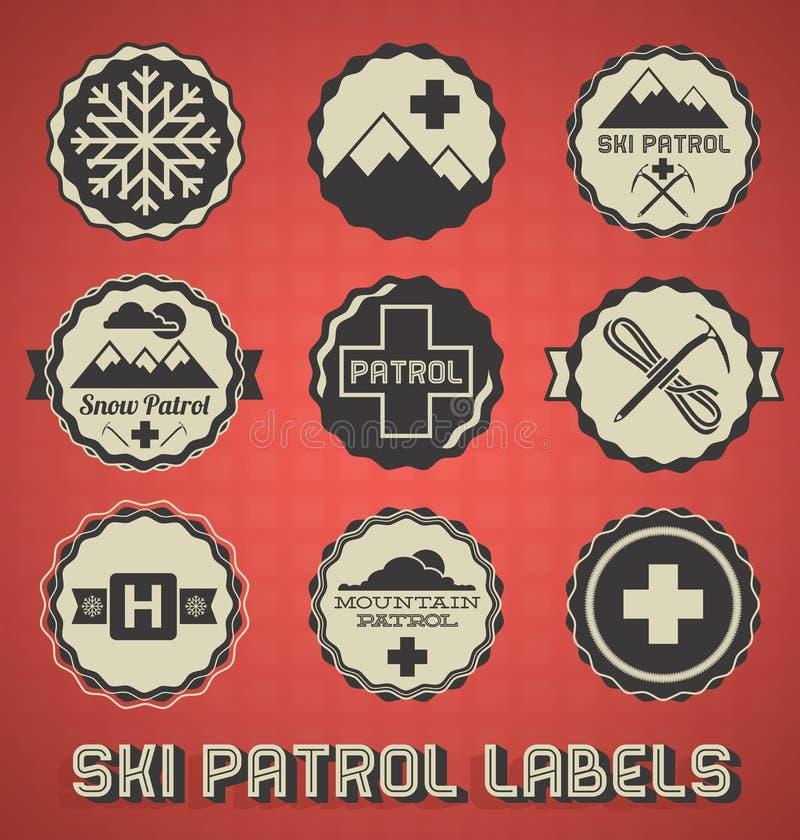 Retro Ski Patrol Labels en Pictogrammen vector illustratie