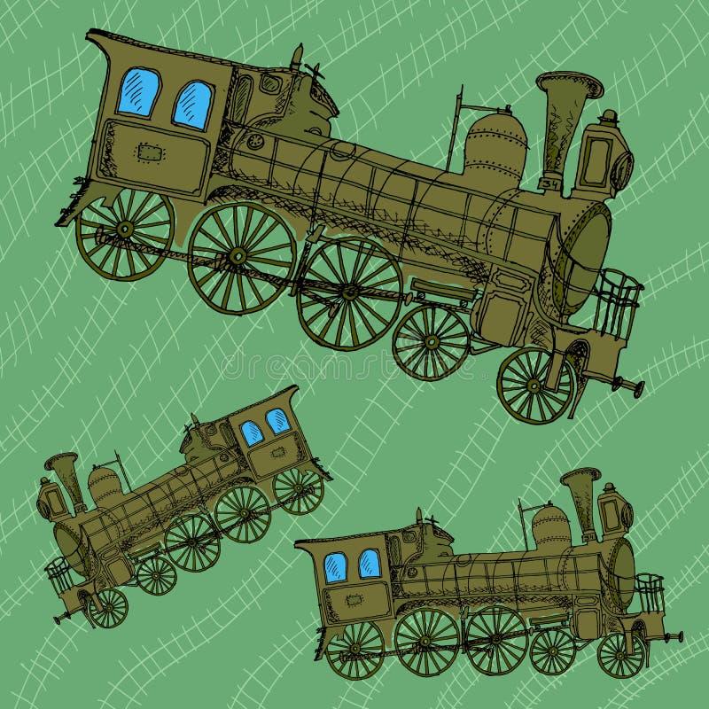Retro- Skizze des Zugs lizenzfreies stockbild