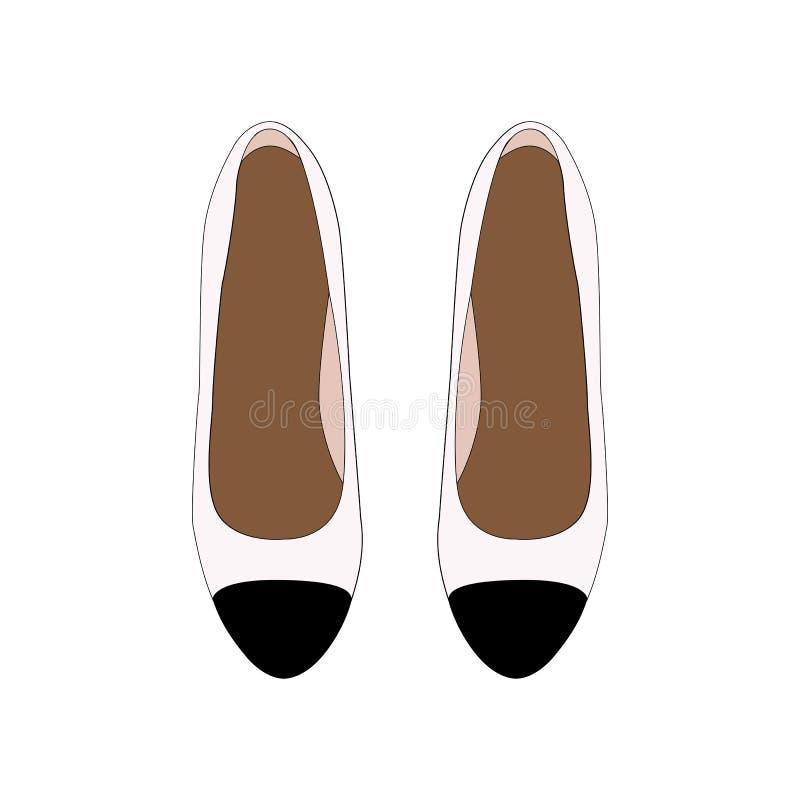 Retro skor för kvinna, pumpar för vitt läder med den svarta tån Vektor Illustartion royaltyfri illustrationer