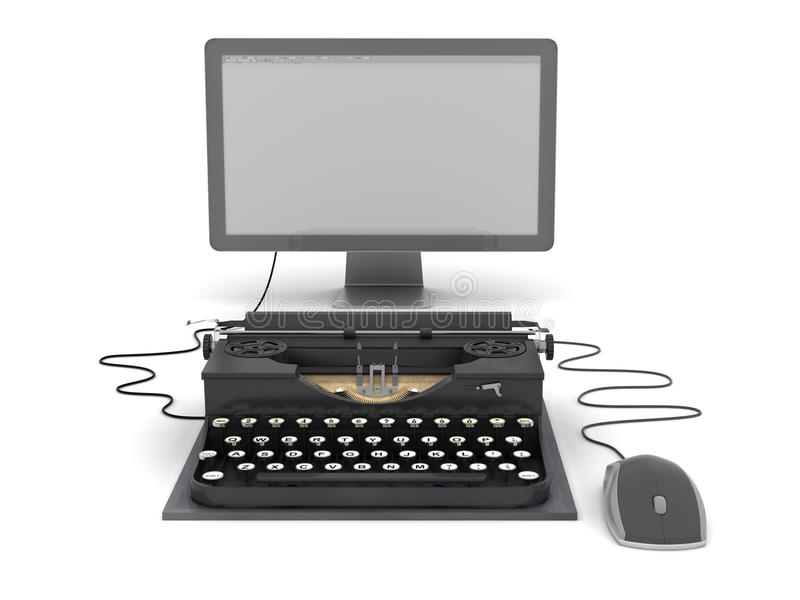 Retro skrivmaskin, datorbildskärm och mus vektor illustrationer