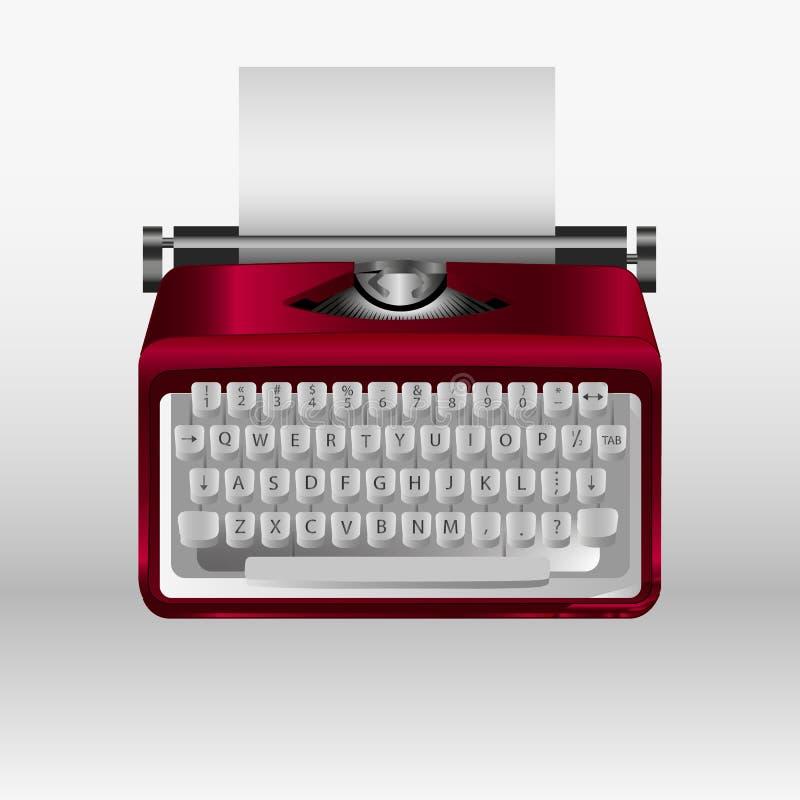 Retro skrivmaskin med vitbokarket Modell för vektor 3d royaltyfri illustrationer
