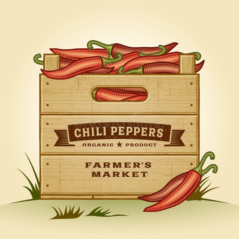 Retro skrzynka chili pieprze ilustracji
