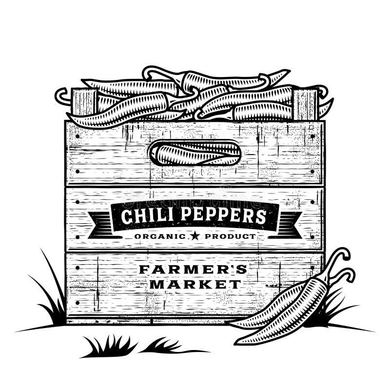 Retro skrzynka chili pieprze czarny i biały ilustracja wektor