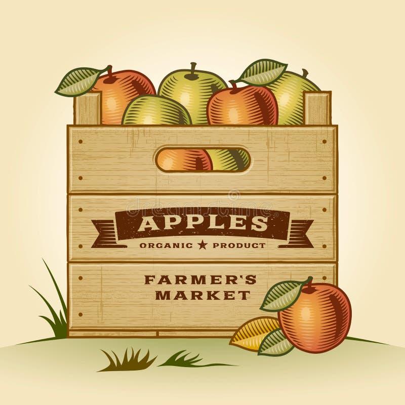 Retro skrzynka jabłka ilustracja wektor