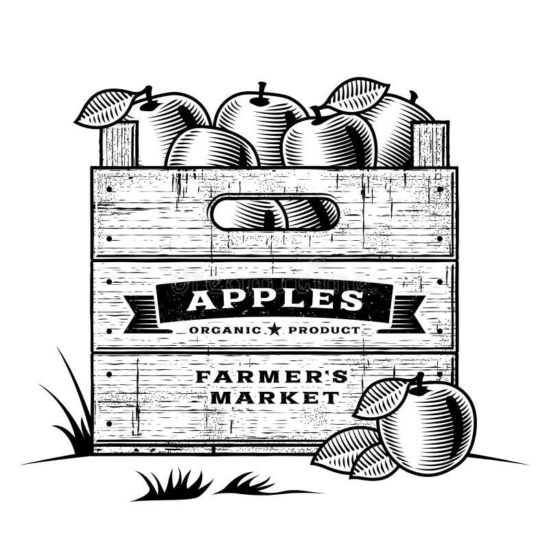 Retro skrzynka jabłka czarny i biały ilustracji