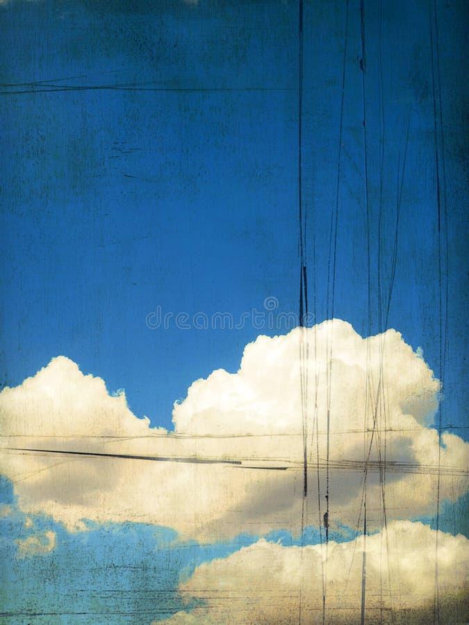 retro sky för molnig bild vektor illustrationer