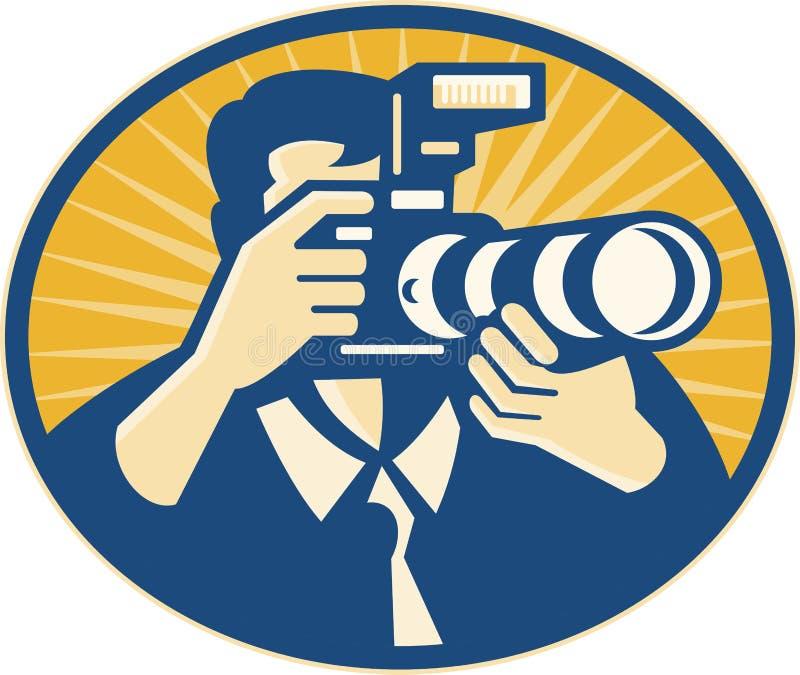 retro skytte för kameradslrfotograf royaltyfri illustrationer