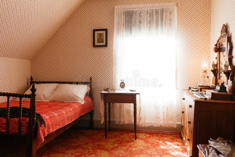 Retro Slaapkamer royalty-vrije stock fotografie
