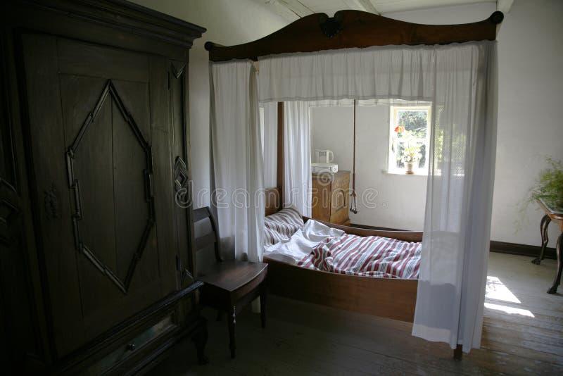 Retro slaapkamer royalty-vrije stock afbeeldingen