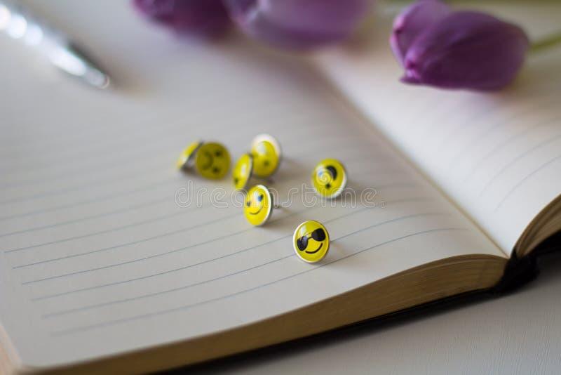 Retro Smiley Face Emoticon Push Pins royaltyfria bilder