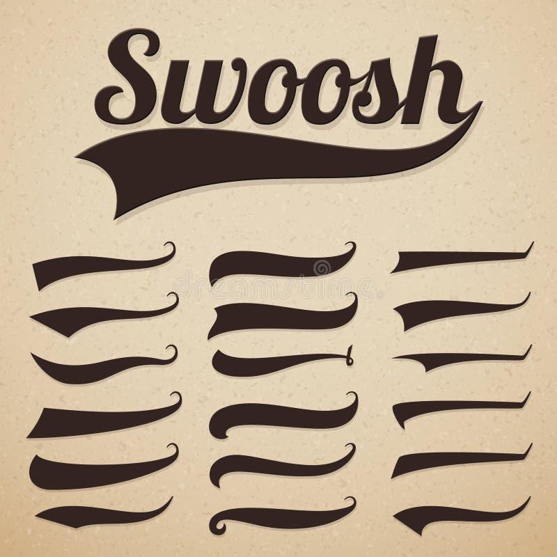 Retro smsande svansar Swooshesviftningar, swooshes och swashes för typografi för tappningbaseballvektor royaltyfri illustrationer