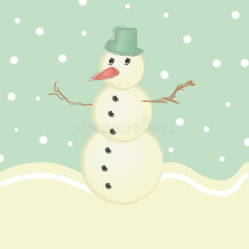 Retro sneeuwman vector illustratie