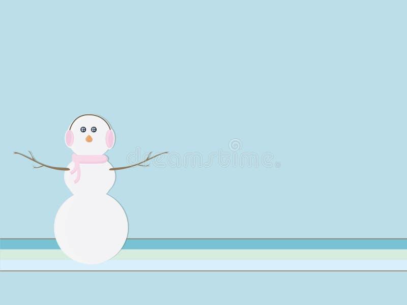 Retro sneeuwman royalty-vrije illustratie