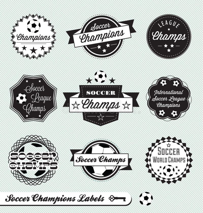 Retro Soccer League Labels and Stickers royalty free illustration