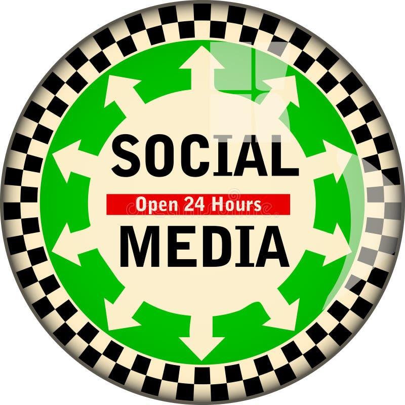 Retro sociale media, sociale netwerken ondertekenen, vectorillustratie, fictief kunstwerk stock illustratie