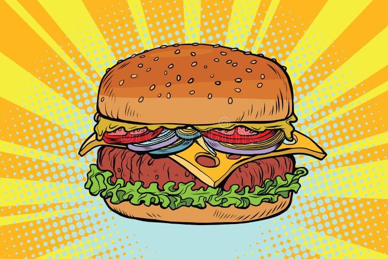 Retro soczysty wyśmienicie hamburger z mięsem i sałatką ilustracja wektor