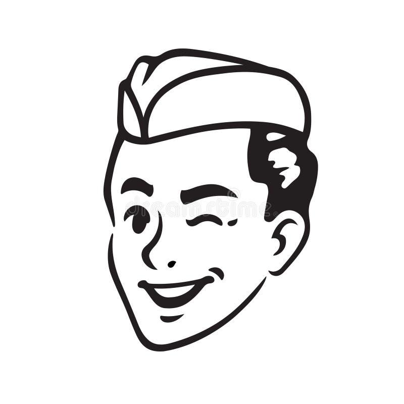 Retro Soda Jerk portrait royalty free illustration