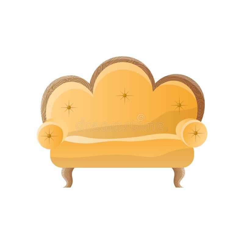 Retro sofà giallo con incurvato indietro isolato su fondo bianco fotografia stock libera da diritti