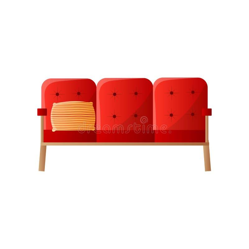 Retro sofà rosso con le gambe di legno isolate su fondo bianco fotografia stock