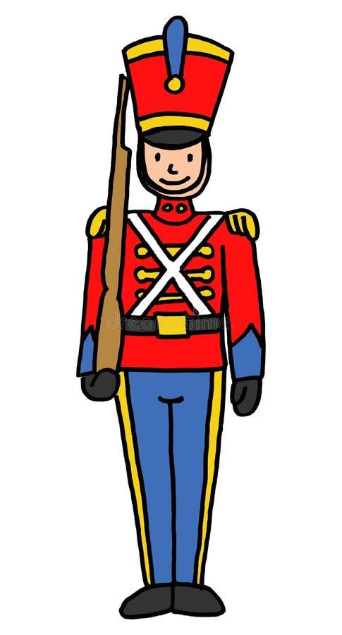 Retro soldat för nötknäpparestilleksak vektor illustrationer