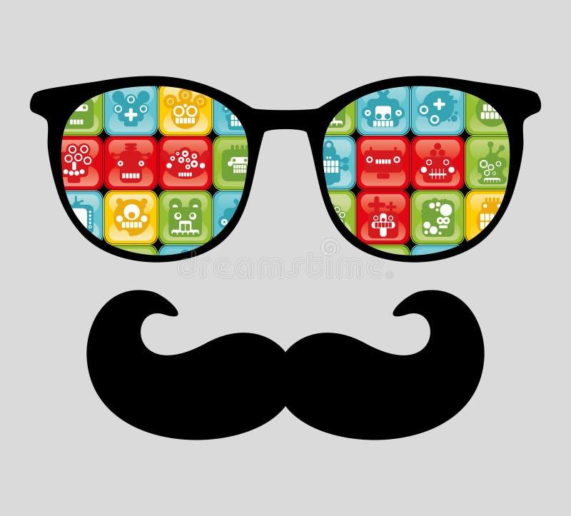 Retro solglasögon med reflexionen för hipster. stock illustrationer