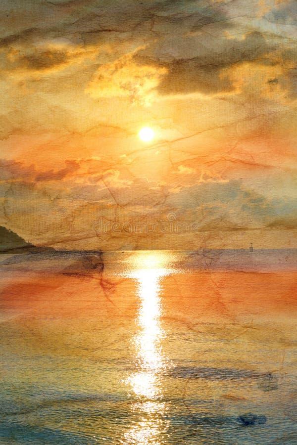 Retro solnedgång på havet arkivfoton