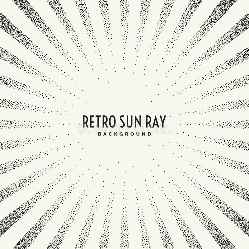 Retro solstråle på bakgrund stock illustrationer