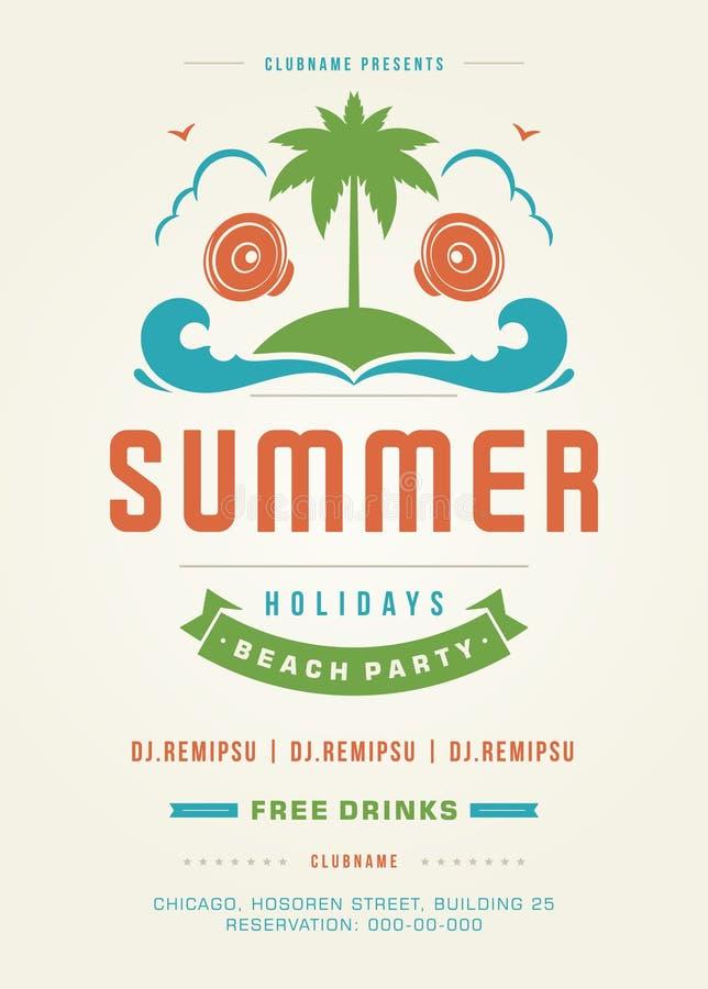 Retro- Sommerferien-Strandfest-Plakat-oder Flieger-Design-Schablone lizenzfreie abbildung