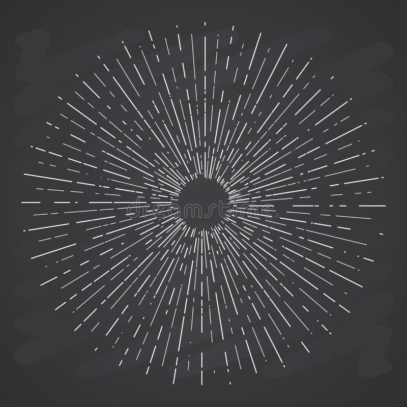 Retro- Sonne birst, Weinlese Strahlen, die der leuchtenden Sonne für Logo formen, Aufkleber oder Embleme und Typografiedekoration stock abbildung