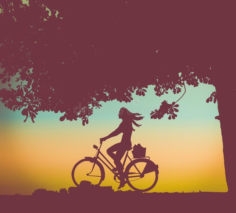 Retro- Sonnenuntergang-Radfahrer vektor abbildung