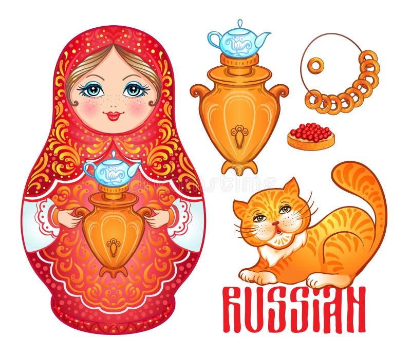 Retro souvenir från Ryssland: babushka (matryoshka), röd katt, samo royaltyfri illustrationer