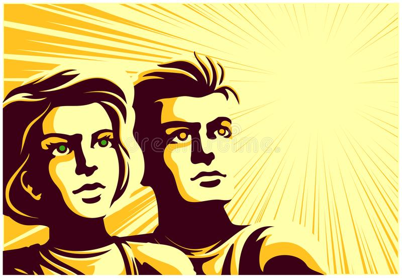 Retro sowiecki propaganda stylu pary mężczyzna i kobieta patrzeje w odległość z inspirowanej twarzy wyrażeniową wektorową ilustra royalty ilustracja