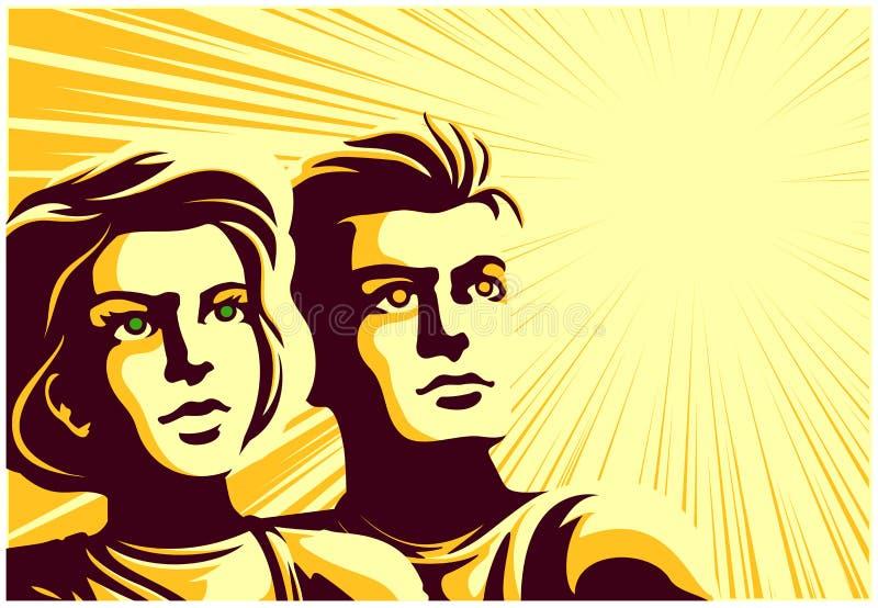 Retro- sowjetischer Propagandaartpaarmann und -frau, die den Abstand mit angespornter Gesichtsausdruck-Vektorillustration untersu lizenzfreie abbildung