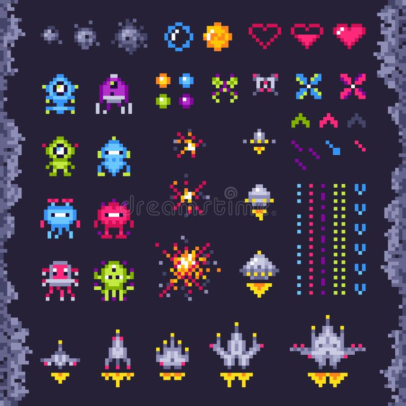 Retro space arcade game. Invaders spaceship, pixel invader monster and retro video games pixel art isolated objects royalty free illustration