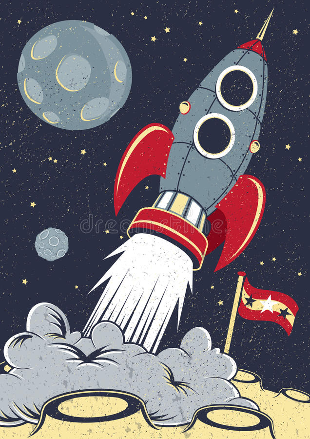 Retro space rocket lifts off stock vector illustration for Retro outer space