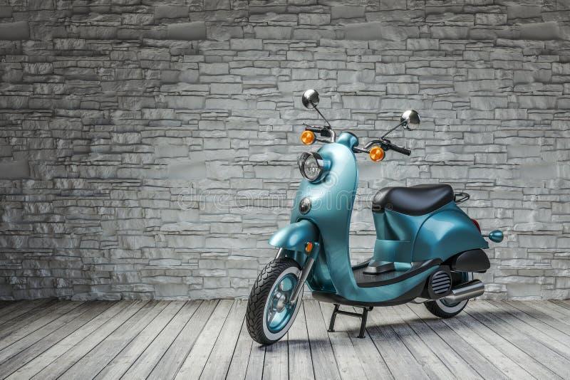 Retro sparkcykel i rum på bakgrund för tegelstenvägg stock illustrationer