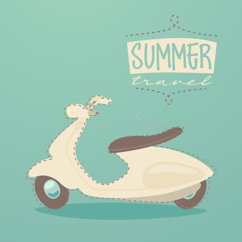 Retro sparkcykel, sommarlopp, tappningsparkcykelaffisch, illustration royaltyfri illustrationer